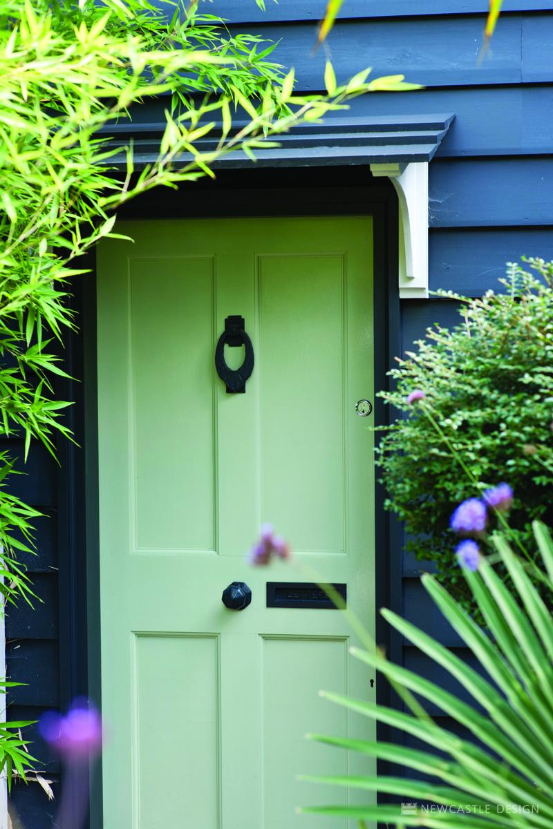 Off-black Exterior Eggshell No, 57 (house) and Green Ground Exterior Eggshell No. 206 (door)