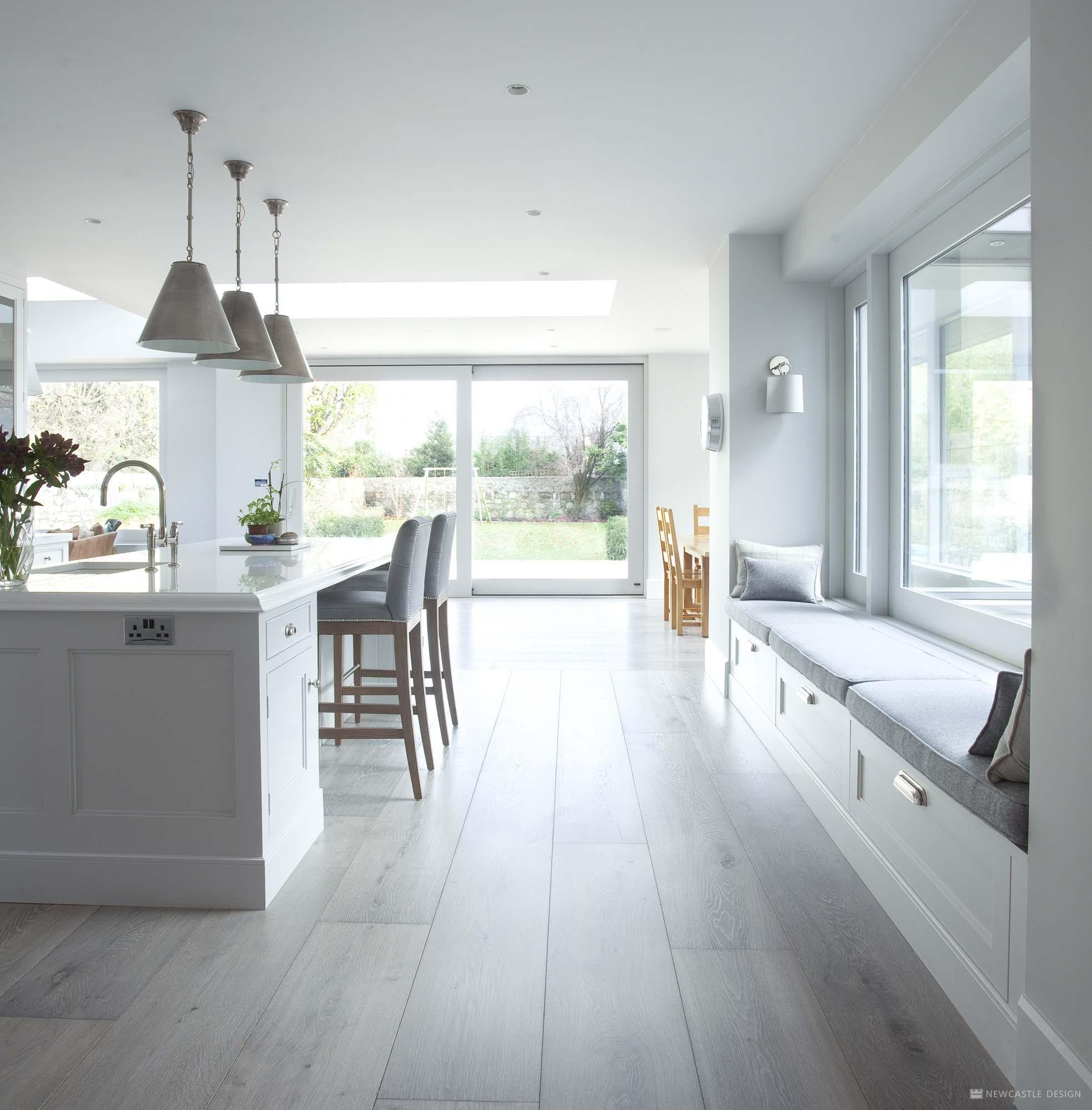 White Kitchen Designs On Open Plan: Contemporary Interiors Dublin